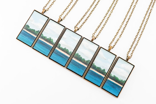 Landscape Painting Pendant - Evergreens on the Lakeshore