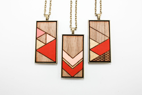 Large Painted Pendant - Burnt Red & Pale Pink