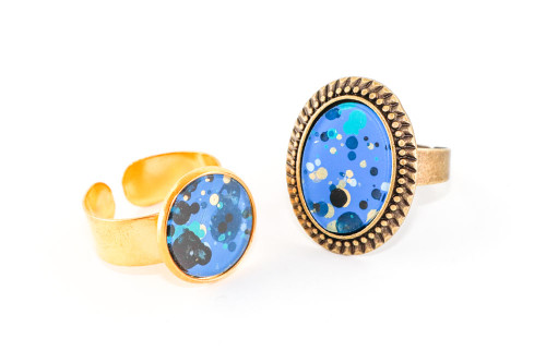 Splatter Painted Ring -  Sapphire Sky (Choose Your Setting)