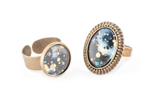 Splatter Painted Ring -  Black Galaxy (Choose Your Setting)