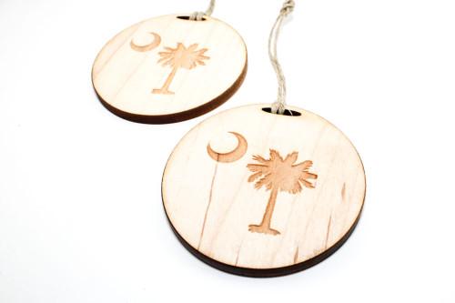 Wood Christmas Ornament: Palmetto Moon
