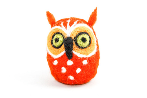 Needle Felted Owl (Orange & Yellow)