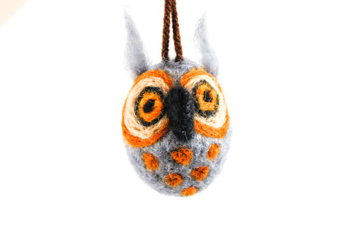 Felted Owl Christmas Ornament (Gray & Sienna Brown)