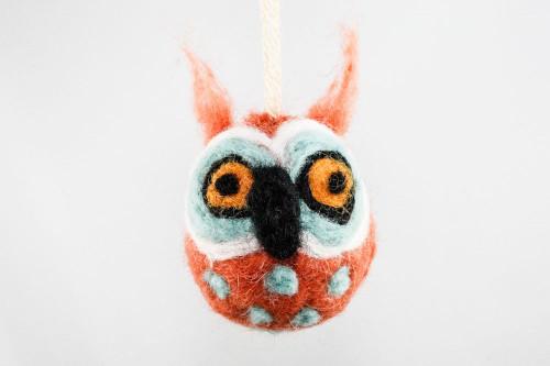 Felted Owl Christmas Ornament (Tangerine & Aqua)