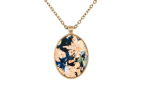 Abstract Paint & Gold Leaf Pendant - Navy Blue