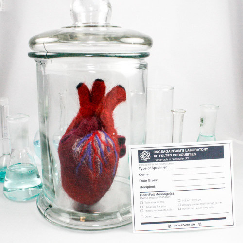 Human-Scale Felted Heart in Specimen Jar (Quirky Get Well Gift)