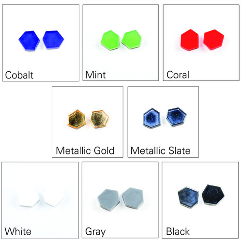 Acrylic Post Earrings - Geometric Polygon Design