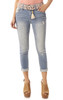 Luscious Curvy Belted Rolled Crop Jeans In Fern
