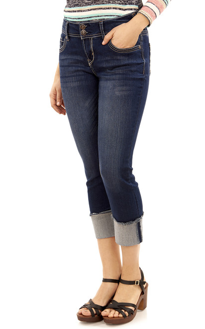 Luscious Curvy Crop Jeans with Frayed Roll Cuff In Chrystie