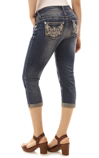Bling Destructed Crop Jeans In Riley