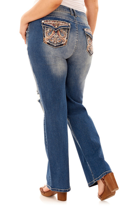 Plus Size Luscious Curvy Bling Bootcut Jeans In Elsie