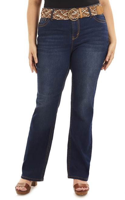 Plus Size Legendary Belted Bootcut Jeans In Kris