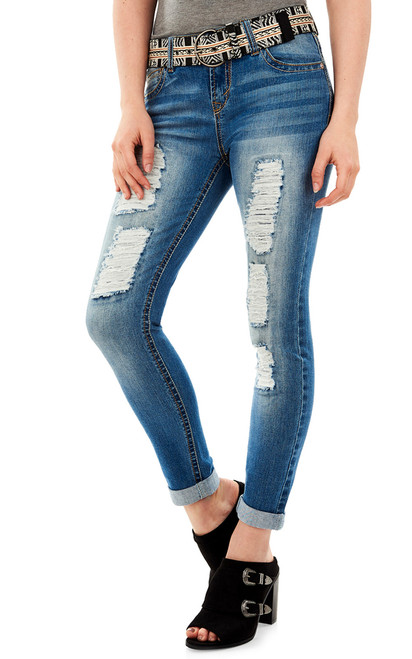 Luscious Curvy Destructed Ankle Jeans In Gemma