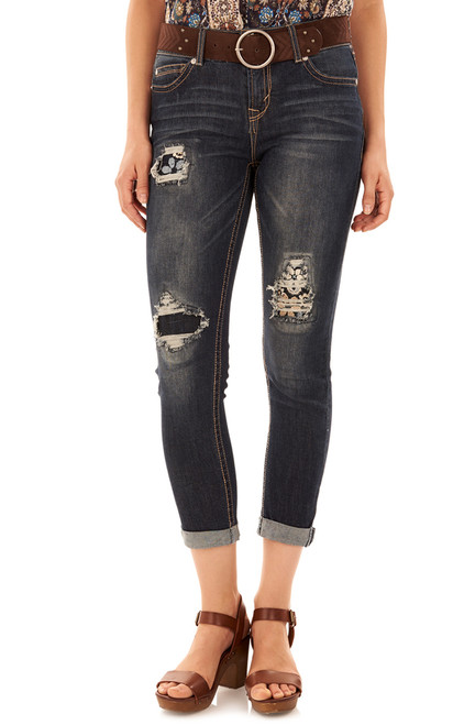 Luscious Curvy Destructed Ankle Jeans In Allison