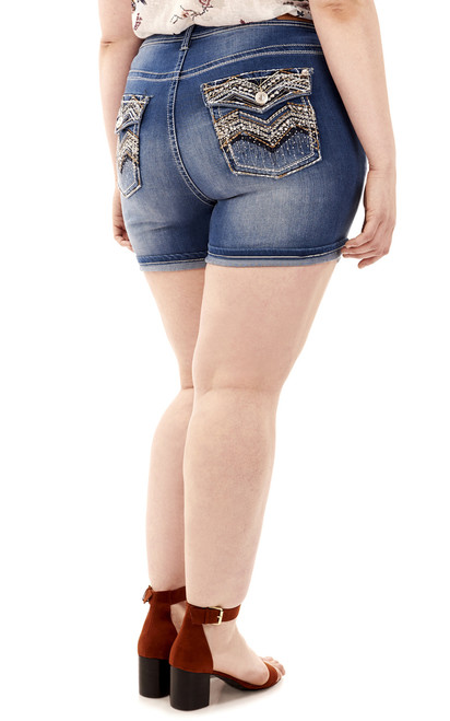 Plus Size Luscious Curvy Bling Shorts In Tessa