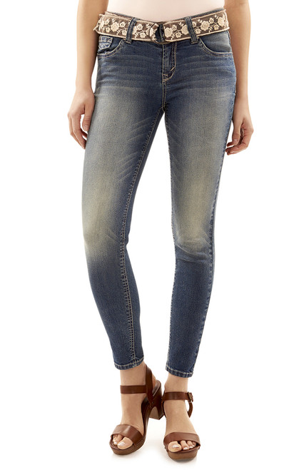 Luscious Curvy Rose Belted Skinny Jeans In Bree
