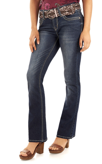 Luscious Curvy Belted Bootcut Jeans In Tegan
