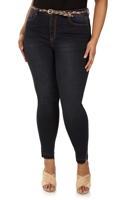 Plus Size Irresistible Belted Skinny Jeans In Wren