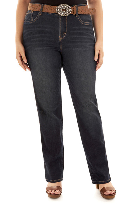Plus Size Legendary Belted Slim Bootcut Jeans In Shay