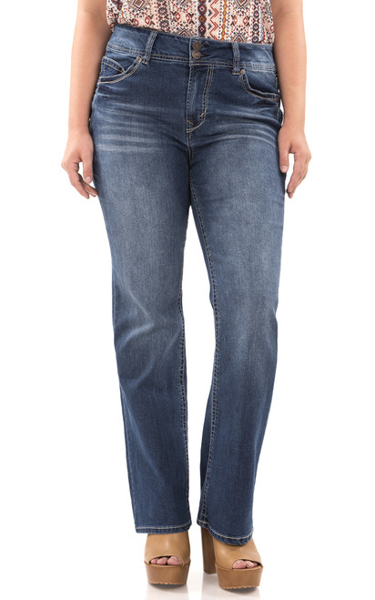 """Plus Luscious Curvy Basic Bootcut Jeans (30-32-34"""") In Addison"""