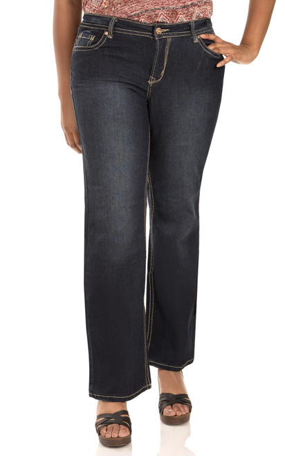 "Plus Basic Legendary Bootcut Jeans (30-32-34"") In Scarlett"