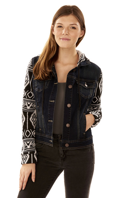 Dreamer Aztec Denim Jacket In Mona