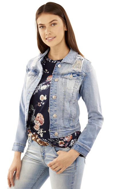 Embroidered Denim Jacket In Skyler