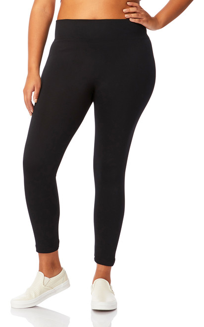 Plus Size Seamless Ultra Soft Fleece Lined Leggings In Black