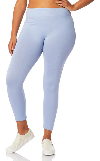 Plus Size Seamless Ultra Soft Fleece Lined Leggings In Infinity Blue