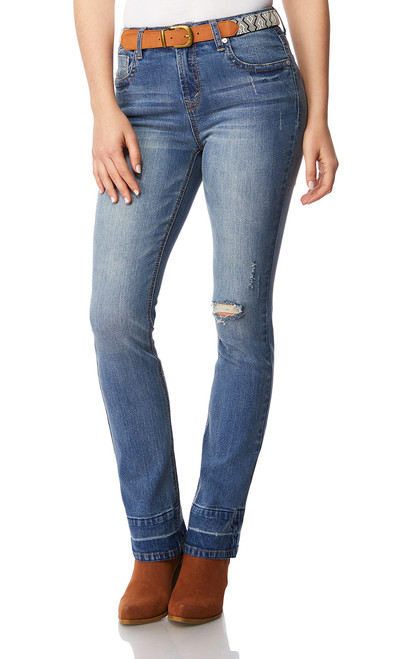 Legendary High Waisted Belted Mini Bootcut Jeans In Tessa