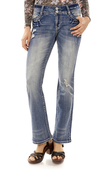 Luscious Curvy Bling Bootcut Jeans In Hillary
