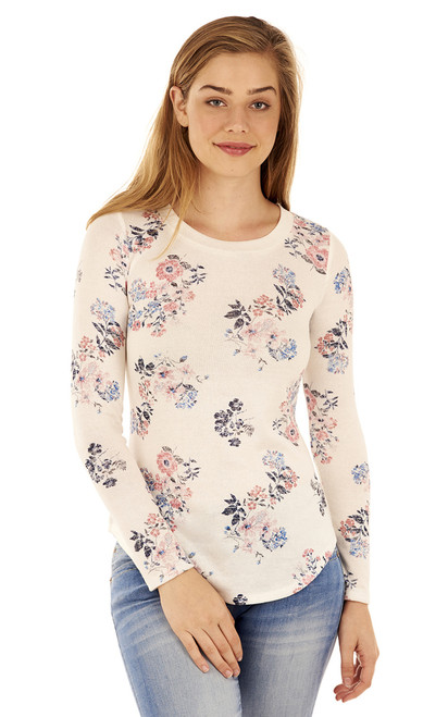 Long Sleeve Pullover In White Print