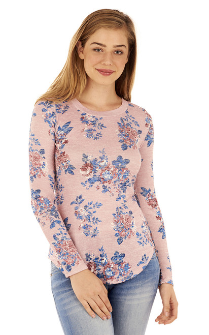 Long Sleeve Pullover In Pink Print