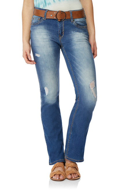 Luscious Curvy Belted Bootcut Jeans In Brodie