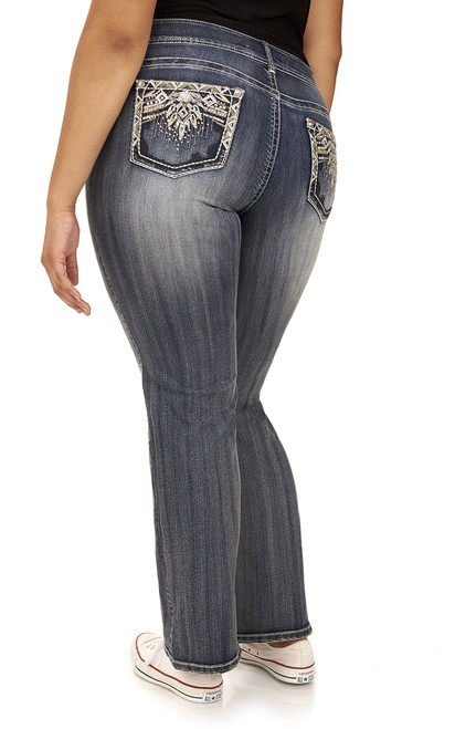Plus Size Luscious Curvy Embellished Bootcut Jeans In Davina