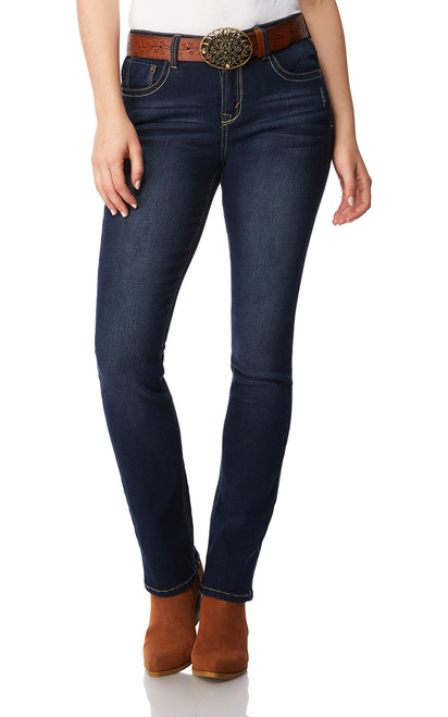 High Waisted Belted Mini Bootcut Jeans In Riverton