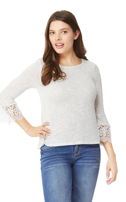 Lace Trim 3/4 Sleeve Top In Grey Violet