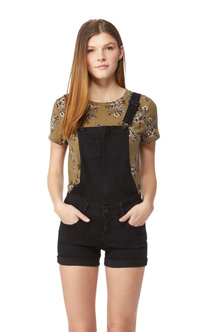 InstaSoft™ Denim Shortalls In Black