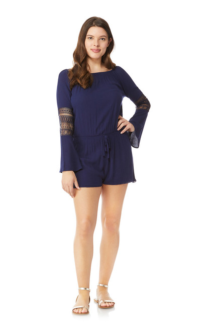 Boho Crochet Romper In Navy