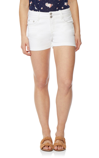 Luscious Curvy Bling Shortie Shorts In White