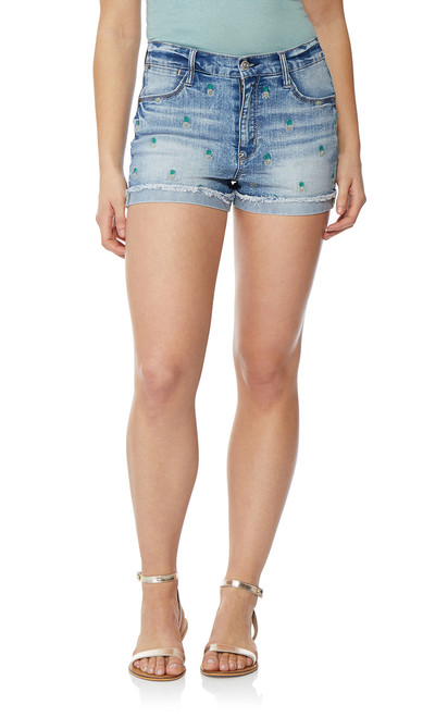 Embroidered Frayed Short Shorts In Larkin