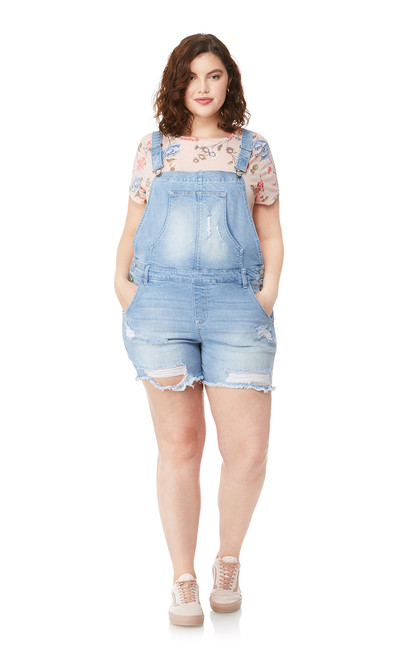 Plus Size Destructed Denim Shortalls In Freya