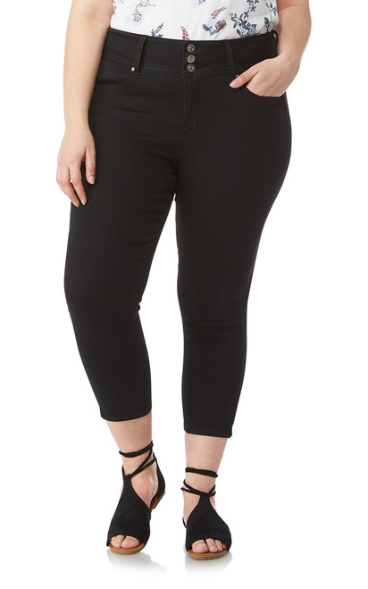 Plus Size InstaSoft™ Sassy Denim Capri Crop In Noir