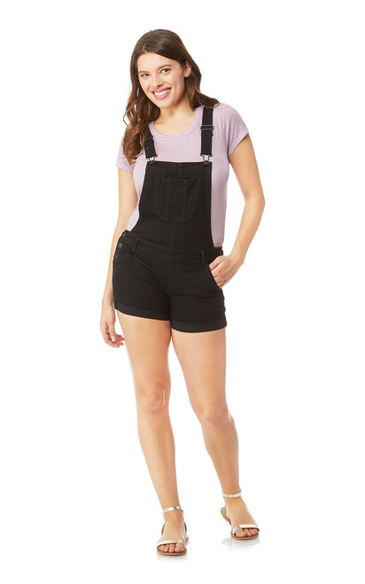 Denim Shortalls In Black