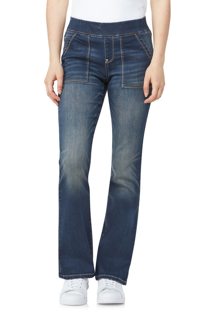 Elastic Waistband Pull On Bootcut Jeans In Basic  Basel