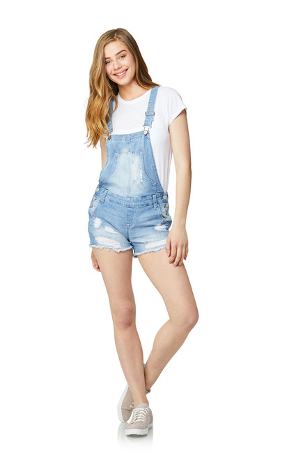 Destructed Denim Shortalls In Freya