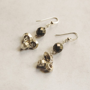 African Wedding Ring and Pyrite  Earrings
