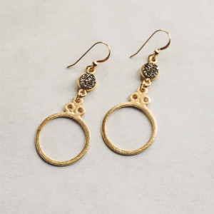 Gold Hoop and Grey Druzy Earrings
