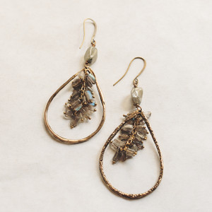 Labradorite and Brass Teardrop Earrings