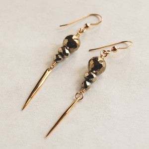 Pyrite and Gold Spike Earrings